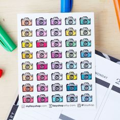 40 Rustic Cameras Mini Icons -  Multicolors Hand Drawn Sticker Planner by FasyShop on Etsy