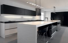 White Satin Kitchen Cupboards with Black Surface