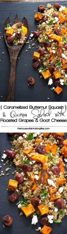 TESTED: Butternut Squash Quinoa Salad is a delicious and flavorful quinoa salad made of caramelized butternut squash, creamy goat cheese, roasted grapes, and basil! Make ahead and store in the fridge until ready to serve! Vegetarian Recipes, Cooking Recipes, Healthy Recipes, Clean Eating, Healthy Eating, Good Food, Yummy Food, Goat Cheese Salad, Quinoa Salad