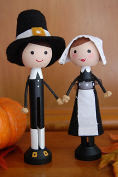 Pilgrim Couple Thanksgiving Clothespin by lollipopsandladybugs
