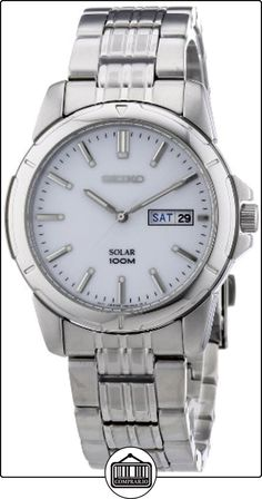 Seiko SNE091P1 - Reloj analógico de caballero de cuarzo con correa de acero inoxidable plateada (solar) - sumergible a 100 metros de  ✿ Relojes para hombre - (Gama media/alta) ✿