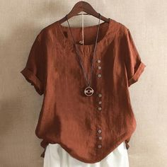 Short Sleeve Button Summer Blouse – My Comfy Blouse Material: Cotton Pattern: Solid Color Sleeve Length: Short Sleeve Cute Blouses, Shirt Blouses, Origin Clothing, Size Clothing, Linen Tshirts, Summer Blouses, Sleeves, Clothes, Cotton Linen