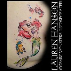 Little Mermaid Tattoo | Flounder, Ariel, and Sebastian