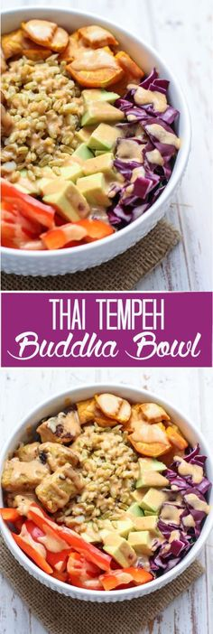A super flavorful and seriously satisfying vegan Thai Tempeh Buddha Bowl, packed full with nutritious foods and drizzled with a simple cashew curry sauce, this meal comes together in just 30 minutes. 20 grams of plant-based protein and 16 grams of fiber! Vegan Vegetarian, Vegetarian Recipes, Healthy Recipes, Thai Vegan, Fast Recipes, Vegetarian Options, Tempeh Recipes Vegan, Vegan Food, Buddha Bowl Vegan
