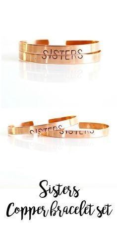 Sisters copper cuff set from BORCIK gifts for sisters, sisters bracelet set, gift for best friend , best friend gift, copper cuff. handstamped bracelet