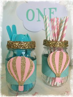 Hot air balloon first birthday decor utensil jars by BBAHomemade