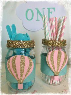 Hot air balloon first birthday decor utensil jars by BBAHomemade