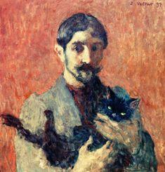 "windypoplarsroom:  Louis Valtat   ""Self-Portrait with Cat"""