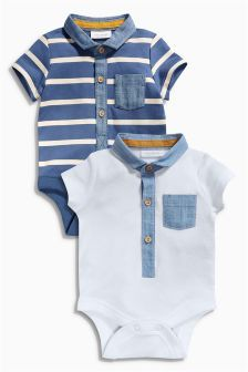 Navy/White Polo Bodysuits Two Pack (0mths-2yrs)