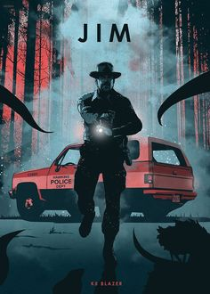 """Cool """"Car Legends - Jim"""" Poster Printed on Metal. Created by artist: Eden Design. Available in sizes M- L - XL . Hopper Stranger Things, Car Posters, Movie Posters, Evil Dead, Eden Design, Smokey And The Bandit, Emblem, Cultura Pop, Pulp Fiction"""