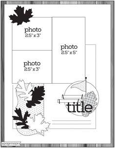 Scrapbook Layout Sketches, Scrapbook Templates, Scrapbook Cards, Scrapbooking Ideas, Sketches Of Love, Card Sketches, Map Sketch, Page Maps, Sketch Inspiration