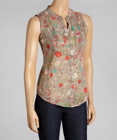 Another great find on #zulily! Taupe & Rose Button-Up Sleeveless Top by Magazine Clothing #zulilyfinds