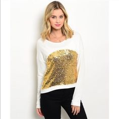 Golden Sequin Top Sequin, sequin and more sequin! Long sleeve top with gold sequin in the front. Made of a cotton blend. Size S,M,L Tops Tees - Long Sleeve