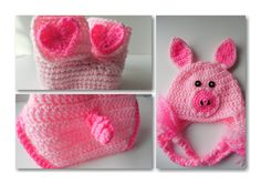Baby Animal Set  Pig Baby Hat  Pig Diaper by ShelleysCrochetOle