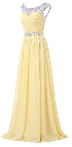 2740c5fd10e5b Queenworld Women s Long Chiffon Bridesmaid Beaded Prom Dress at Amazon  Women s Clothing store