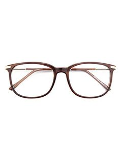 ae6c3b8a9 $9.99 Happy Store CN79 High Fashion Metal Temple Horn Rimmed Clear Lens Eye  Glasses,Brown