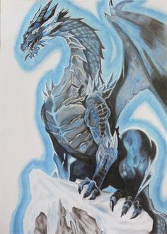dragón de hielo, lapices de color