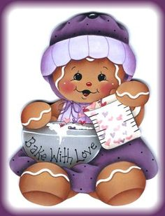 "Laminated Fridge Magnet Miniature Gingerbread ""Bake with Love"" Purple Dress 