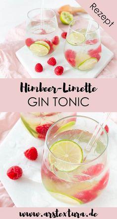 Rezept Himbeer-Limette Gin Tonic - ein perfekter Drink f r den Sommer - Getr nke f r den Sommer - Cocktail Rezept - Longdrink Rezept Le Gin, Long Drink, Vegetable Drinks, Gin And Tonic, Summer Drinks, Diy Food, Cocktail Recipes, Grapefruit, Food And Drink
