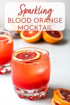 This sparkling blood orange mocktail with honey and vanilla is a refreshing winter spritzer. It's an easy mocktail – the perfect drink for Dry January or a pretty non-alcoholic drink for girls night. Orange Drinks, Fruit Drinks, Orange Recipes, Yummy Drinks, Margarita Recipes, Beverages, Blood Orange Drink, Fancy Drinks, Cocktails