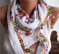 Turkish Shawl  Anatolians Scarf  Oya Lace Yemeni  White by womann, $15.90