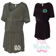 Monogrammed V-Neck Slouchy Beach Cover Up / Monogrammed Dress / Ladies Monogrammed Dress