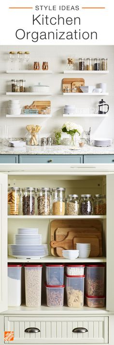 An organized kitchen is crucial for cooking at home and serving guests. Keep your ingredients and kitchenware easy to access with DIY storage solutions and open shelving. Find practical solutions that make your kitchen more efficient and look beautiful at Kitchen Organization, Organization Hacks, Kitchen Storage, Kitchen Decor, Organized Kitchen, Space Kitchen, Red Kitchen, Kitchen Shelves, Kitchen Sink