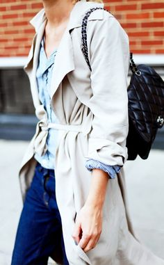 Striped button down layered under a trench coat. // Photo: Adenorah #Streetstyle
