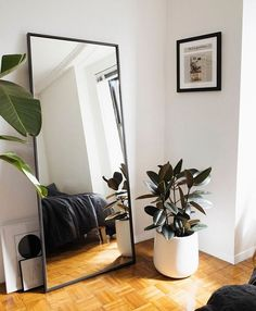 Shop floor mirrors planters and make those corners shine! - Floor Plants - Ideas of Floor Plants - Dont cut corners! Shop floor mirrors planters and make those corners shine! Bedroom Corner, Room Ideas Bedroom, Home Decor Bedroom, Living Room Decor, White Bedroom Decor, Bedroom Small, Small Bedroom Interior, Bedroom Black, Home Room Design