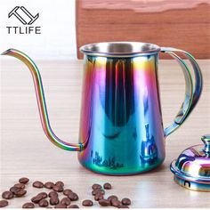TTLIFE 650ML Stainless Steel Gooseneck Spout Kettle Drip Coffee Kettle Colorful Coffee Pot Long Mouth Coffee Pot Teapot