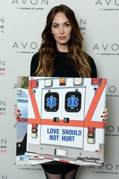 Actress Megan Fox in New York City where she helped Avon launch the #SeeTheSigns of Domestic Violence global social media campaign. Pin this to help raise awareness about the signs of domestic abuse.