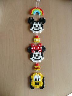 Mickey Mouse, Minnie Mouse and Pluto Perler Bead Designs, Hama Beads Design, Diy Perler Beads, Pearler Bead Patterns, Perler Bead Art, Perler Patterns, Diy With Kids, Perler Bead Disney, Beading For Kids