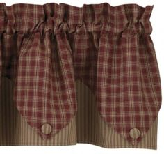 country primitive burgundy plaid pointed ticking valance cottage homespun cabin ebay - Country Kitchen Curtains Ideas