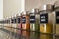 DIY spice: Ikea jars + custom labels printed on adhesive inkjet paper
