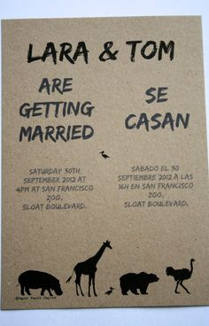 Zoo Wedding Invitations On Recycled Paper. Half In English And The Other  Half In Spanish