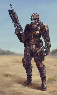 ArtStation - Sci Fi Rifle man (2015), Glorfindel .
