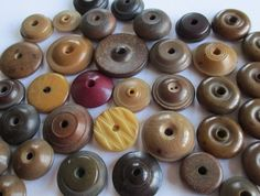 36 ANTIQUE VEGETABLE IVORY TAGUA NUT WHISTLE BUTTONS CARVED SHAPED DYED noelhumphrey on eBay.co.uk