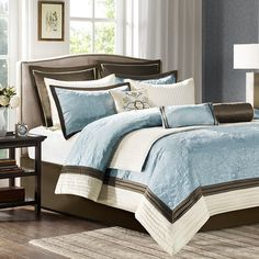 Madison Park Juliana Queen Size Bed Comforter Set Bed in A Bag Blue Quilted Floral 9 Pieces Bedding Sets Faux Silk Bedroom Comforters * You can find out more details at the link of the image. (This is an affiliate link) Brown Comforter, Blue Comforter Sets, Bedding Sets, Bedroom Comforters, Blue Bedding, Blue Bedroom, Bedroom Sets, Dream Bedroom, Master Bedroom