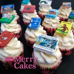 Book themed cupcakes for a baby shower! Entirely edible. So cute!!