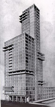Walter Gropius and Adolf Meyer, Entry to the Chicago Tribune Competition, 1922 Residential Architecture, Amazing Architecture, Art And Architecture, Architecture Details, Vintage Architecture, Walter Gropius, Bauhaus Design, Constructivism, Modern Masters