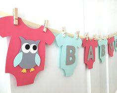 """Bebé mono una sola pieza """"BABY"""" Búho bebé ducha Banner: Coral, menta y género Gris Neutral Baby Shower"""