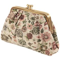 Metallic Floral Coin Purse ($7.80) ❤ liked on Polyvore featuring bags, purses, clutches, accessories, handbags, women, forever 21, coin purse, floral coin purse and floral bag