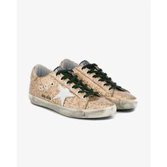 Golden Goose Leather Glitter Superstar Sneakers ($480) ❤ liked on Polyvore featuring shoes, sneakers, leather shoes, checkered sneakers, checkered shoes, round toe shoes and golden goose shoes