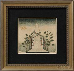 Alexander Hamilton Emmons (American, 1818-?)      Small Watercolor Memorial