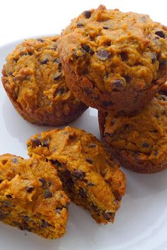 Pumpkin Chocolate Chip Muffins. These were moist and yummy. will add a tad bit more spice next time.