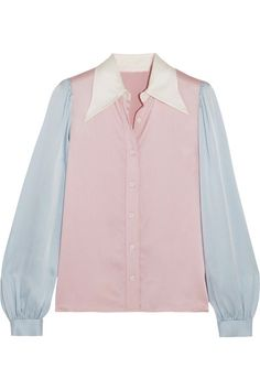 Pastel-pink, baby-blue and ivory satin Button fastenings through front 79% triacetate, 21% polyester     Dry clean
