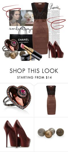 """""""Saturday Night"""" by kaitryne ❤ liked on Polyvore featuring Edition, Lanvin, Planet, Casadei, Chanel, chanel and bandage dress"""