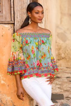 Mixed Floral Off The Shoulder Blouse Gowns With Sleeves, Short Sleeve Dresses, Fast Fashion, Boho Fashion, Boho Outfits, Fashion Outfits, Kaftan, Fiesta Outfit, Queen Outfit