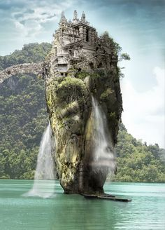 Photoshoped James Bond Island in Khao Phing Kan, Thailand as background of temple.