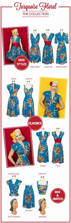 Shop retro dresses, vintage inspired women's clothing, rockabilly wear, retro shoes and corsets at Trashy Diva online or in our New Orleans stores. 1940s Inspired Fashion, Retro Fashion, Vintage Inspired, Women's Fashion, Vintage Glamour, Vintage Floral, Vintage Patterns, Sewing Patterns, Pin Up Style